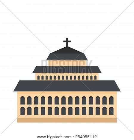 Tall Church Icon. Flat Illustration Of Tall Church Icon For Web