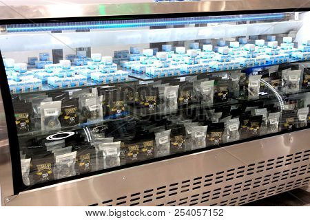 LOS ANGELES - AUG 15:  Cannabis product at the Dr. Greenthumb Cannabis Dispensary Opening at 12751 Foothill Blvd. on August 15, 2018 in Sylmar, CA