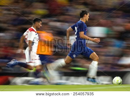 LONDON, ENGLAND - AUGUST 07 2017:  The pre season friendly match between Chelsea and Olympique Lyonnais at Stamford Bridge on August 7, 2018 in London, United Kingdom.
