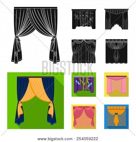 Embroidery, textiles, furniture and other web icon in black, flat style.Curtains, stick, cornices, icons in set collection. poster