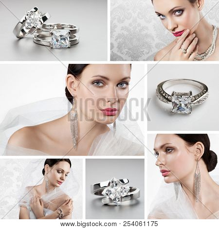 Collage of several photos for fashion and beauty industry.Portrait of beautiful bride wearing exquisite jewellery.