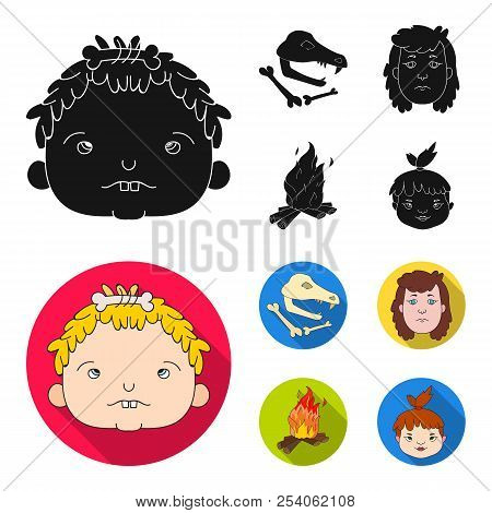 Woman, Hair, Face, Bonfire .stone Age Set Collection Icons In Black, Flat Style Vector Symbol Stock