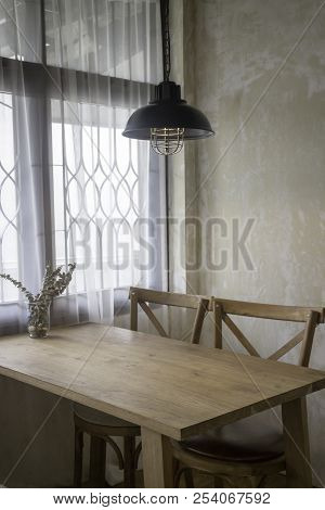 Classic Cafe Interior In Wood, Stock Photo