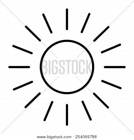 Sun Thin Line Icon. Shining Sun Vector Illustration Isolated On White. Sun And Rays Outline Style De