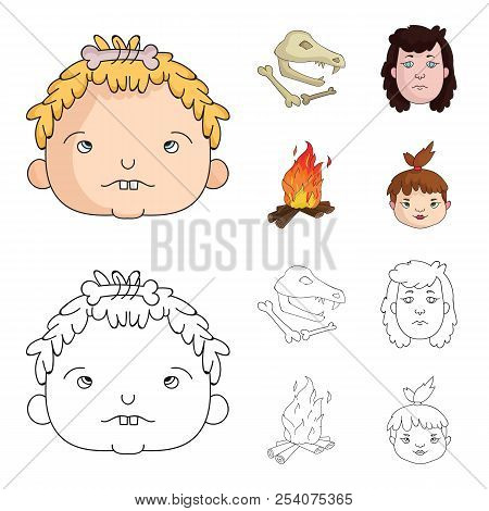 Woman, Hair, Face, Bonfire .stone Age Set Collection Icons In Cartoon, Outline Style Vector Symbol S