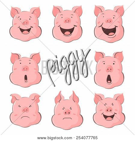 Pig Vector Character Constructor Of Emotions. Portrait Of A Pig Set. Piglet Head With Emotion. Cute