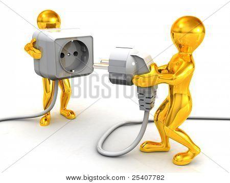 Plug and socket. 3d