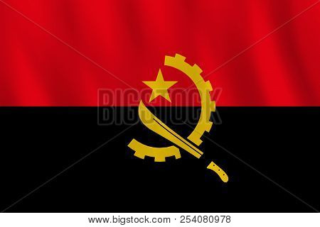 Angola Flag With Waving Effect, Official Proportion.