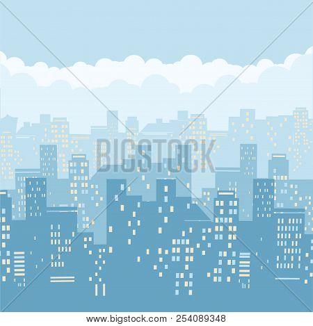 Cityscape Background Illustration.vector Illustration Of Modern City And Blue Sky