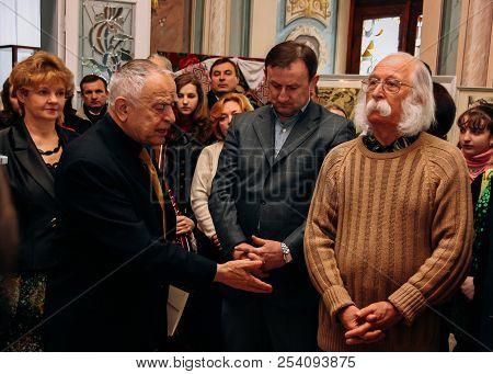 Zbarag, Ternopil / Ukraine - February 20 2009: Poet Dmytro Pavlychko (l), Politician Mykhailo Ratush