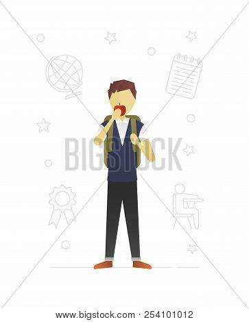 Schoolboy Eating Apple Flat Character Design. Grade Schooler. Boy In School Uniform With Rucksack. V