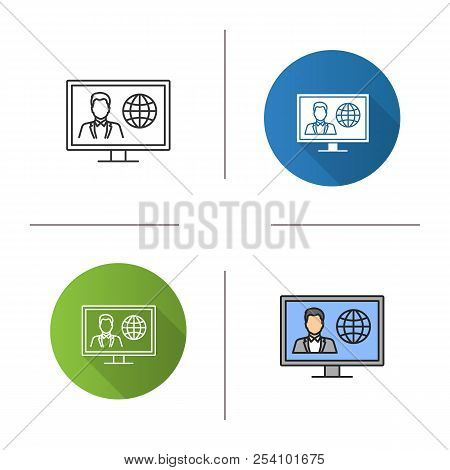 Tv News Icon. Newscaster On Television Set Display. Flat Design, Linear And Color Styles. Isolated V