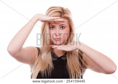 Facial Focus, Gestures, Mimicry Concept. Portrait Of Attractive Blonde Woman With Hands Close To Fac