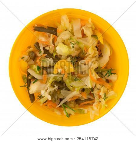 Marinated Vegetables On A Plate Isolated On A White Background. Seafood, Cabbage, Parsley, Pepper On