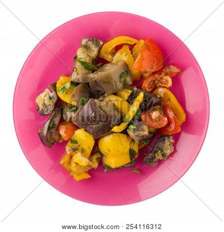Saute From Eggplant Isolated On White Background. Eggplants, Peppers, Tomatoes, Dill On A Plate. Hea