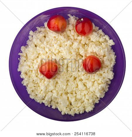 Cottage Cheese With Cherry Isolated On White Background. Cottage Cheese With Cherries On A Plate.