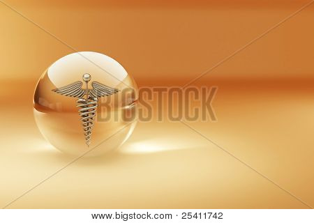 Symbol of medicine. Abstract background. 3d