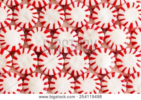 Colorful Red And White Mint Or Peppermint Flavored Starlight Candies In A Flat Lay Still Life Full F