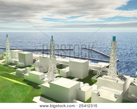 Three-dimensional layout of Fukushima nuclear plant. 3d