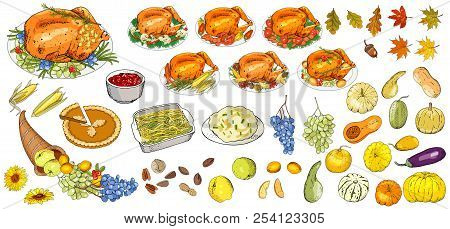 Set Of Objects And Symbols On The Happy Thanksgiving Day - Turkey, Pumpkin Pie, Mashed Potatoes, Gre