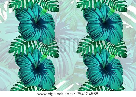 Tropical Pattern. Green Blue Exotic Summer Flower Vector Background. Beauty Fasion Monstera, Palm Le