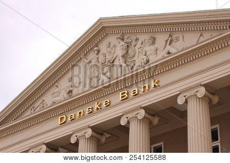 Copenhagen, Denmark - August 17: Danske Bank Logo On Wall Of Headquaters. Danske Bank Is The Largest