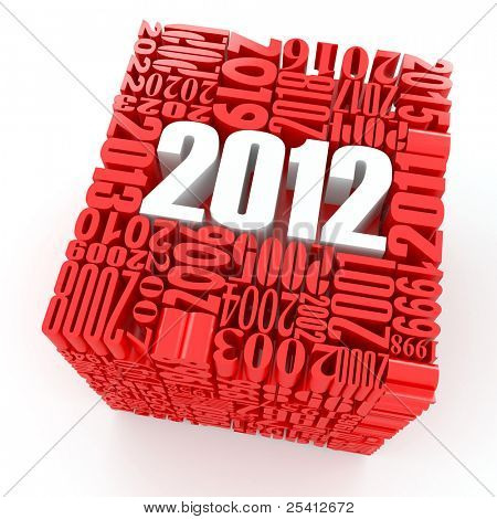 New year 2012. Cube consisting of the numbers. 3d