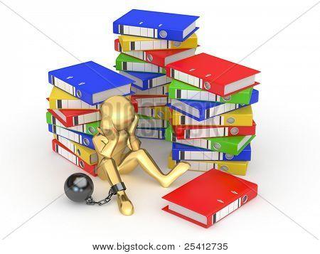 Clerk in archive. Men with folders. 3d
