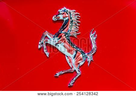 Brussels - Jan 12, 2016: Close Up Of A Ferrari Logo On A Ferrari Sports Car At The Brussels Motor Sh