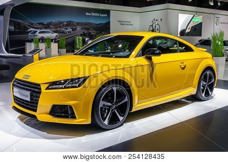 Brussels - Jan 12, 2016: Audi Tt S Coupe Car Showcased At The Brussels Motor Show.