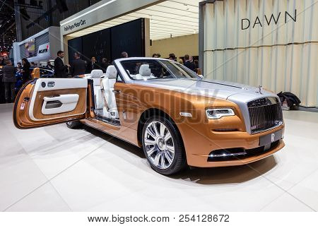 Geneva, Switzerland - March 1, 2016: Rolls Royce Dawn Luxury Convertible Car Showcased At The 86th G