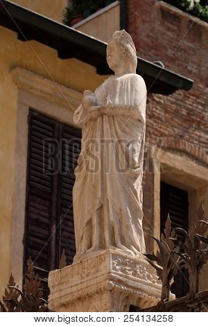 VERONA, ITALY - MAY 27: Scaliger tombs, a group of five gothic funerary monuments celebrating the Scaliger family in Verona, Italy, on May 27, 2017.