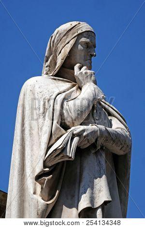 VERONA, ITALY - MAY 27: Dante Alighieri Statue at Piazza dei Signori in Verona, Italy, on May 27, 2017.