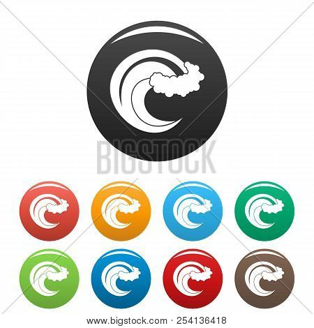 Wave Storm Icon. Simple Illustration Of Wave Storm Icons Set Color Isolated On White