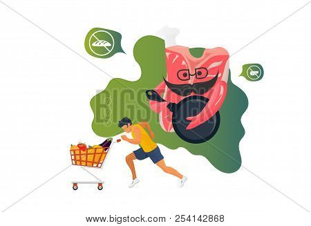 The Paleolithic Or Paleo Diet, Known As Caveman Or Stone-age Diet Concept Illustration: Meat Steak,