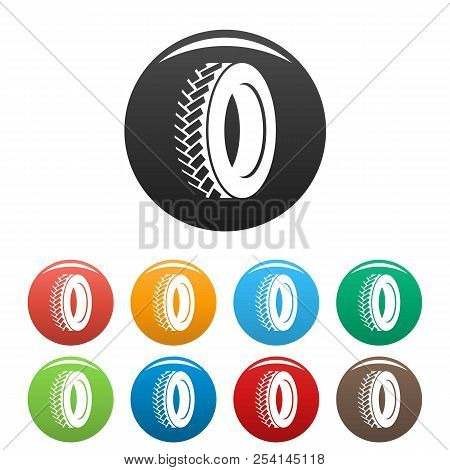 One Tyre Icon. Simple Illustration Of One Tyre Icons Set Color Isolated On White
