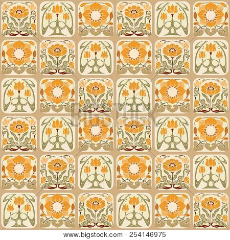 Seamless Pattern, Background With Decorative Elements In The Sty