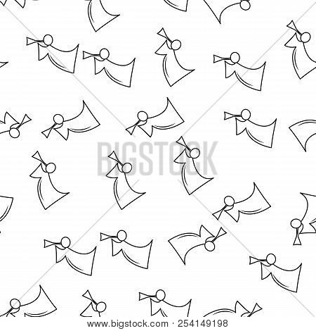 Angel With Horn Line Icon In Pattern Style. One Of Angel And Demons Collection Icon Can Be Used For