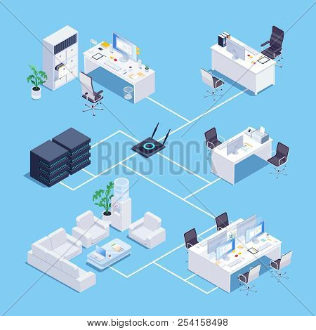 Local Network. Isometric Concept Of Local Network In Office. 3d Office Furniture. Vector Illustratio