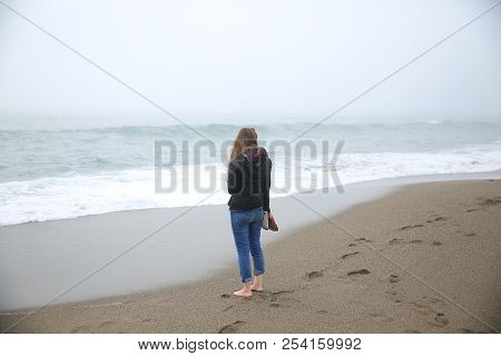 Looking Across The Foggy Ocean On The Tip Of Freezing Water