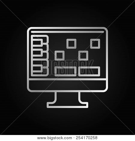 DAW silver outline icon - vector digital audio workstation concept sign on dark background poster