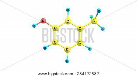 Meta-cresol Or 3-methylphenol Molecular Structure Isolated On White
