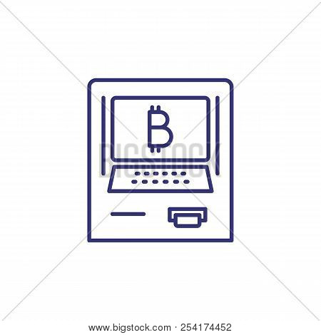 Atm With Bitcoin Payment Line Icon. Virtual Money Cash Machine, Electronic Money, Virtual Money Tran