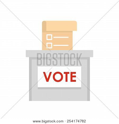 Vote Election Box Icon. Flat Illustration Of Vote Election Box Icon For Web Isolated On White