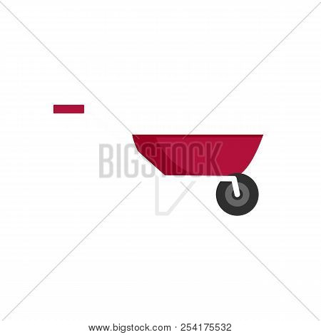 One Wheel Barrow Icon. Flat Illustration Of One Wheel Barrow Icon For Web Isolated On White