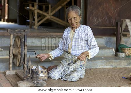 Woman Spinning Cotton Myanmar