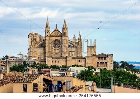 La Seu, The Cathedral Of Santa Maria Of Palma. It Is A Gothic Roman Catholic Cathedral Located In Pa