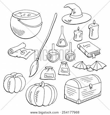 Witch Set Graphic Black White Isolated Sketch Illustration Vector