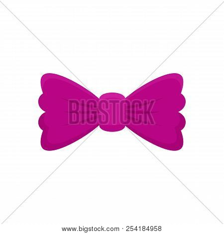 Violet Bow Tie Icon. Flat Illustration Of Violet Bow Tie Icon For Web Isolated On White