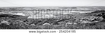 Industrial Park In Nitra, Slovak Republic. Panoramic Photo. Seasonal Natural Landscape. Black And Wh